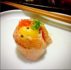 One of my unique creations: Salmon belly gunkan w/ quail egg tobiko green onions unagi sauce ponzu and garlic oil So delicious! #sushi #food #foodporn #japanese #Japan #dinner #sashimi #yummy #foodie #lunch #yum