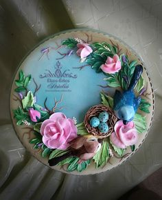 Bird Cakes, Royal Icing, Decorative Plates, Birthday Cakes, Tableware, Cookies, Blue, Fashion, Crack Crackers