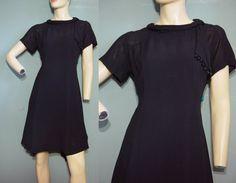 Vintage 60s Dress 1960s Black Rayon Crepe Sheer by mustangannees, $59.00