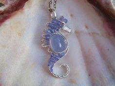 Blue Tanzanite Seahorse .925 Sterling Silver Wire Wrapped Pendant Mini #Pendant #seahorse
