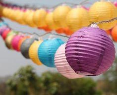 Couleurs mélangées solaire Mini rond papier lanternes lampions mètres 8 lumières extérieures