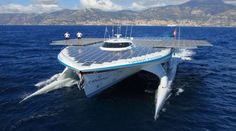 Largest Solar-Powered Boat Ever    Planet Sola has created a solar powered yacht called the Turanor. This is the largest solar powered boat ever to set sail. It is 8.5 tons and can store up to three days of sailing power in lithium ion batteries, allowing it to sail at night. (Link | Photo)