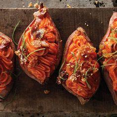 Twice-baked sweet potatoes w/bacon