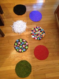 Sensory steps! Steps made from fake grass, textured scrapbook paper, pom pom balls, sponges (on nonskid material so you can get the sponges wet to add another sensory component), crumpled shreds of paper (bought in a craft section for stuffing), and fake fur.