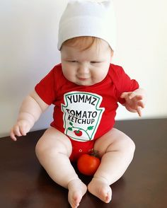 Best Baby Halloween Costume 2017. Ketchup Baby Costume Set by Buzz Bear Studio. Comfortable to Wear. Easy to Put on.