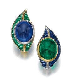 Pair of sapphire and emerald ear clips, Hemmerle Estimate - $41,622 - 62,432 (=)