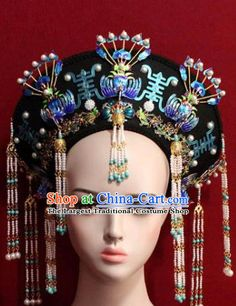 Chinese Ancient Empress Cloisonne Headwear Hat Traditional Qing Dynasty Queen Hair Accessories for Women Asian Hair Ornaments, Japanese Wedding Kimono, Chinese Drawings, Fairy Makeup, Queen Hair, Costume Shop, Ancient Jewelry, Qing Dynasty, Hair Accessories For Women