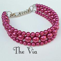The Via in Magenta  Pearl Dog CollarCat collar by BeadieBabiez