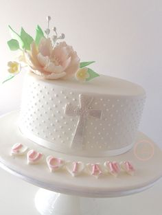 Swiss dots Christening cake by Craftsy member rrushwan420162