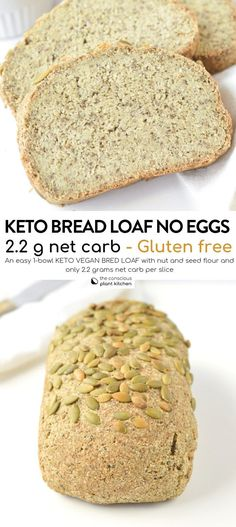 KETO Gluten free Vegan bread recipe Easy, Yeast free with only grams net carbs per slices. A delicious dense bread with wholegrain flavor. Keto Vegan, Sans Gluten Vegan, Pan Sin Gluten, Vegan Keto Recipes, Vegan Bread, Easy Bread Recipes, Tofu Recipes, Vegan Butter, Diet Recipes