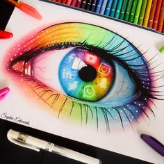 Social media eye this generations biggest addiction and what we spend most our time looking at. App Drawings, Art Drawings Sketches Simple, Pencil Art Drawings, Realistic Drawings, Colorful Drawings, Cool Drawings, Colored Pencil Artwork, Color Pencil Art, Disney Drawings