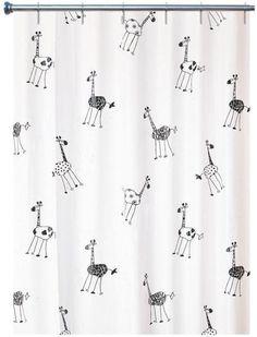 Duschvorhang Giraffe 180cm x 200cm Vinyl weiss  von wohnideenshop auf DaWanda.com