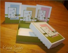 card box tut and note cards...would be great Christmas gifts or birthday or ???