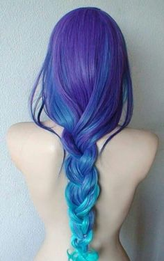 Funny pictures about Mermaid Hair. Oh, and cool pics about Mermaid Hair. Also, Mermaid Hair photos. Purple Wig, Purple Ombre, Blue Hair, Teal Blue, Blue Green, Curly Hair Care, Long Wavy Hair, Curly Hair Styles, Long Curly