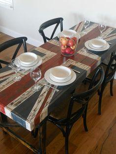 Vintage Industrial Trestle Table With Union Jack | eBay