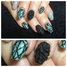 Teal acrylic nails with 3D acrylic full flower nail
