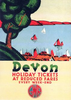"""""""Devon, Holiday Tickets at Reduced Fares"""" a Great Western Railway holiday poster from the National Railway Museum collection"""