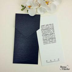 Black Envelope Wedding Invitation 25 Black White by Beyazfikirler