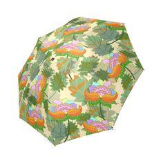 Pink Orange Floral Pattern Green Leaves Foldable Umbrella