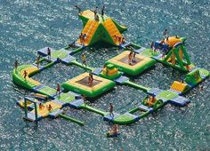 I could totally see this in the lake at camp! We can just add water this summer and then just add this awesome obstacle course next summer! That would be tons of fun!
