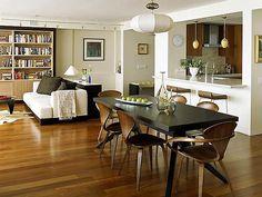Modern, open-plan living: Norman Cherner chairs + Noguchi coffee table by xJavierx, via Flickr