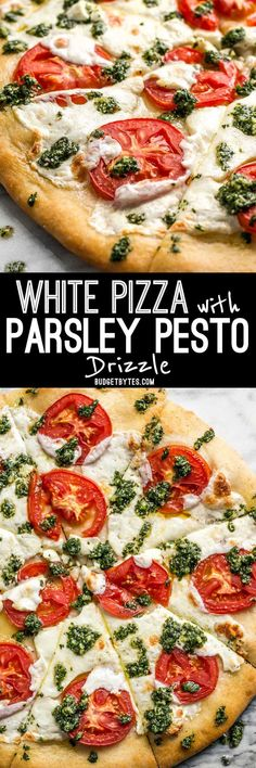 White Pizza with Parsley Pesto Drizzle - Budget Bytes -You can find Pesto and more on our website.White Pizza with Parsley Pesto Drizzle - Budget Bytes - Pizza Recipes, Vegetarian Recipes, Dinner Recipes, Cooking Recipes, Healthy Recipes, Dinner Ideas, Delicious Recipes, Meal Recipes, Cooking Ideas
