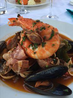 """Cataplana a la Algarve"", National dish of Portugal, restaurant Akvavit, Marina de Vilamoura, Algarve Portugal"