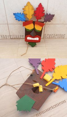 Crash Bandicoot - Real size Aku Aku mask ~ Made in real wood, painted and cutted all by hand! It is about 15x13 inches, totally wearable