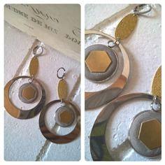 Boucles d'oreille acier, hématite et béton argent et or 03