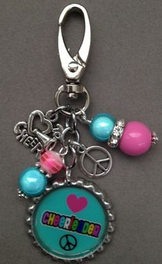 CHEERLEADER PEACE  bottlecap  backpack bling pink by KeyChainBling, $16.00