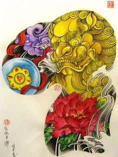 Японские татуировки, эскизы, карп кои, драконы.