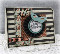 Handmade Halloween card by Julee Tilman using the Masquerade set and Mask Die Set from Verve.  #vervestamps