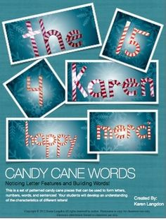 FREE!!  Candy Cane Letters - Notice Letter Features While Building Words!