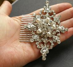 Wedding Hair Comb Vintage Style Rhinestone & Pearl by luxedeluxe, $78.00