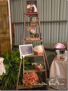 Shabby Chic Cowgirl birthday dessert table and old ladder @chickadeehomenest.blogspot.com
