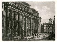 The Antiquarium - Antique Print & Map Gallery - Luigi Rossini - Portico at Temple of Antoninus and Faustina - Copper etching