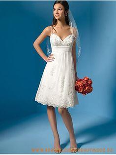 2013 Kurze Brautkleider für Strandhochzeit aus Satin V-Ausschnitt mit Spaghettisträger knielang