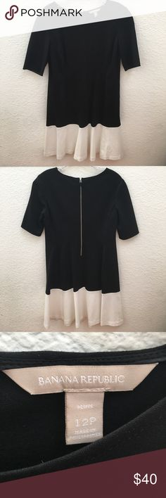 """Banana Republic BW Dress Petite 12 Beautiful and comfortable black and white dress. Has a nice stretch to it. Only worn once. 31"""" long from front collar. Like new condition. No stains, rips, or tears. Banana Republic Dresses Midi"""
