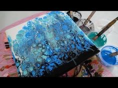 Acrylic Pouring: Swiping with thinner paints.  This was done on tile... turned out beautifully!!!