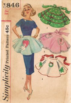 Simplicity 1846  Vintage 1950s Sewing Pattern  One Size