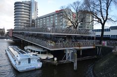 Cycle parking on land and over water, Centraal Station, Amsterdam