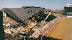 Demolition of Arsenal's old North Bank stand at Highbury, in 1992.