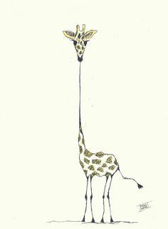 Ilustração: Girafa Dimensão: A4 / 210mm x 297mm Técnica: A mão livre/ Tinta Nanquim Papel: Casca de Ovo branco 180g/m²
