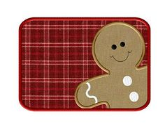 Gingerbread Man ITH Mug Rug - Applique Embroidery Design - 3 sizes to fit4X4,  5X7 & 6X10 hoops