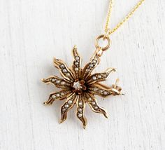 Antique 10k Gold Diamond and Pearl Edwardian Necklace - Vintage Starburst Floral Art Nouveau Pendant Fine Jewelry / Flower Bud