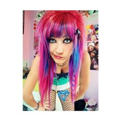 colorful hair, emo, fail, fat, girl, hair ❤ liked on Polyvore