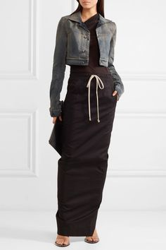 Gray denim Button fastenings through front cotton, spandex Hand wash Made in Italy Pencil Skirt Work, Slouchy Pants, Minimalist Chic, Cropped Denim Jacket, Autumn Street Style, Rick Owens, High Waisted Skirt, Fashion Outfits, Long Sleeve