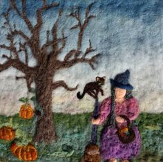 Halloween Needle Felted Waldorf Wall Hanging of Witch by the felted fairy tale