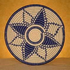 Rwanda Baskets ~ Fruit Bowl - Blue and White Starburst