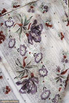 Augusta Auctions Tasha Tudor Collection  Semi sheer cotton w/woven striped ground 1830's